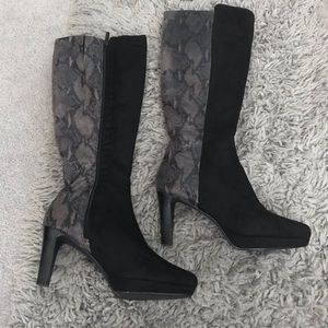 Snakeskin Suede Knee High Boots
